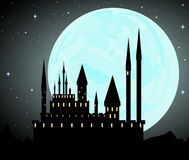 Halloween vector background with Dracula's castle Royalty Free Stock Images