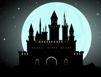 Halloween vector background with Dracula's castle, full moon and starry sky Stock Photos