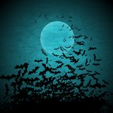 Halloween vector background with moon and bats Royalty Free Stock Photography