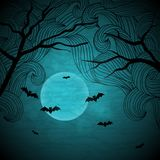 Halloween vector background with moon and bats Royalty Free Stock Images