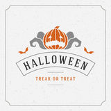 Halloween Vector Background and Pumpkin. Vintage Happy Halloween Typographic Design Vector Background and Pumpkin Royalty Free Stock Image