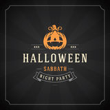 Halloween Vector Background and Pumpkin. Vintage Happy Halloween Typographic Design Vector Background and Pumpkin Stock Photography