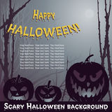 Halloween. Vector Halloween background with scary pumpkins in night forest Royalty Free Stock Images
