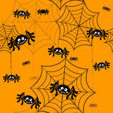 Halloween vector background seamless pattern. Spider web, halloween symbols Royalty Free Stock Photo