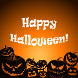 Halloween. Vector Halloween background with set of scary pumpkins Royalty Free Stock Image