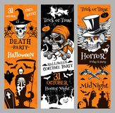 Halloween vector banners for holiday horror night Royalty Free Stock Image