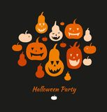 Halloween vector card with angry pumpkins. Decorative banner with group of funny pumpkins. Set with vector silhouettes. Royalty Free Stock Photo