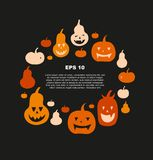 Halloween vector card with angry pumpkins. Decorative banner with round group of funny pumpkins Stock Photos