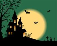 Halloween vector card. With creepy castle Stock Photography