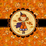 Halloween vector card with funny witch. Stock Photo