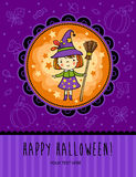 Halloween vector card with funny witch. Royalty Free Stock Photos