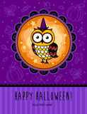 Halloween vector card with owl. Royalty Free Stock Photos