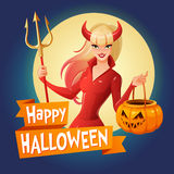 Halloween vector card. Sexy lady in red Halloween costume of a devil with horns and trident holding jack-o -lantern. Halloween card. Sexy blond lady in glossy Stock Photography