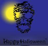 Halloween vector card : skull shape of bats Stock Photo