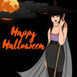 Halloween Vector Card with Witch Royalty Free Stock Photos