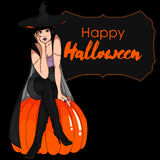 Halloween Vector Card with Witch Royalty Free Stock Image