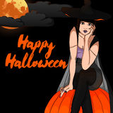 Halloween Vector Card with Witch Royalty Free Stock Photography