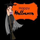 Halloween Vector Card with Witch Stock Photography