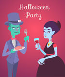 Halloween vector card with zombie and vampire. Halloween poster vector flat illustration card. Victorian party with zombie and vampire Stock Photography