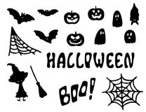 Halloween vector clipart. Black illustrations isolated on white Stock Photos