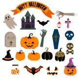 Halloween vector clipart set. Spooky pumpkin icons. Royalty Free Stock Photo