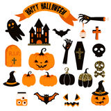 Halloween vector clipart set. Spooky pumpkin icons. Royalty Free Stock Photos