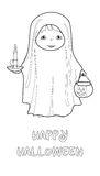 Halloween vector coloring page with cute ghost Royalty Free Stock Photography