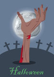Halloween Vector Concept with Zombie Hand on Grave. Halloween mystical concept. Zombie hand sticking out from the ground on cemetery the night of the full moon royalty free illustration