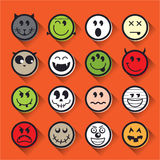 Halloween vector emoticon icon set collection Stock Photography