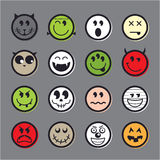 Halloween vector emoticon icon set collection Royalty Free Stock Images