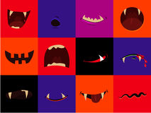 Halloween vector icon set - cartoon monster mouths. Vampire, werewolf, pumpkin, ghost Royalty Free Stock Photo