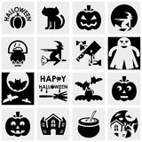 Halloween vector icons set on gray Royalty Free Stock Photography