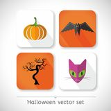 Halloween vector icons. Halloween vector set, icons include vampire, cat, pumpkin and tree Stock Photo
