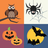 Halloween vector icons set traditional trick or treat celebration cemetery collection and darkness decoration design Stock Image