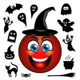 Halloween vector icons. Smiling red emoticon in a black hat. Royalty Free Stock Photos