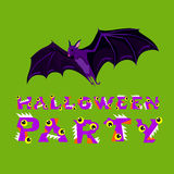 Halloween vector illustration. Bat and letters. Drawing  lettering is handmade on green background. Stock Images