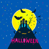 Halloween vector illustration. Halloween illustration. Bats flying over a horrible hill in the night with a full moon on dark blue background Stock Photography