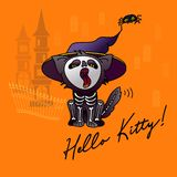 Halloween vector illustration. Cartoon black cat in hat. Royalty Free Illustration