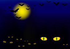 Halloween vector illustration with cats Stock Photos
