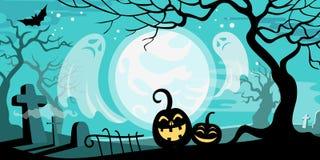Halloween vector illustration concept template scary graveyard. Dead tree ghosts pumpkin bat full moon Royalty Free Illustration