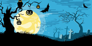 Halloween vector illustration concept template scary graveyard. Dead tree owl pumpkin bat full moon Stock Illustration
