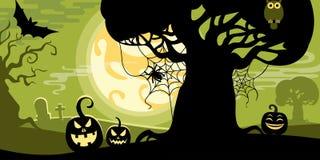 Halloween vector illustration concept template scary graveyard. Dead tree owl pumpkin bat spider web full moon Vector Illustration