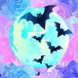 Halloween vector illustration: creepy cute vector bat flying aga Royalty Free Stock Image