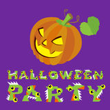 Halloween vector illustration. Creepy pumpkin and letters. Drawing  lettering is handmade on purple background. Royalty Free Stock Photos