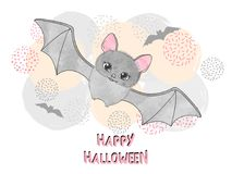 Halloween vector illustration for kids with cute bat. Happy Halloween vector illustration for kids with cute bat Stock Photo