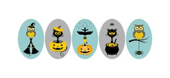 Halloween. Vector illustration. Halloween, stickers or badges, icons or logos in modern line style. Vector illustration vector illustration