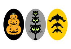 Halloween. Vector illustration. Halloween, stickers or badges, icons or logos in modern line style. Vector illustration royalty free illustration