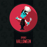 Halloween vector illustration in style flat about vampire chef Royalty Free Stock Photos