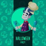 Halloween vector illustration in style flat about vampire chef Royalty Free Stock Image