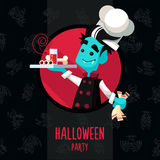 Halloween vector illustration in style flat about vampire chef Stock Photos